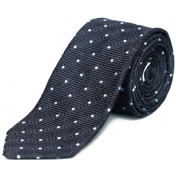 cravate-en-grenadine-de-soie-bleu-marine-pois-bleu-ciel